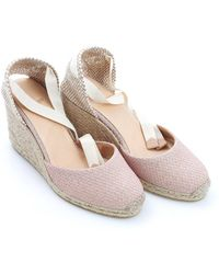 Castaner - Carina8 Espadrilles, Nude Textured Ankle Tie Wedges - Lyst