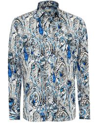 Etro - New Tattoo & Multi Print Shirt, Regular Fit Blue Shirt - Lyst