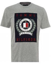 49903357 Tommy Hilfiger - Crest T-shirt, Cloud Heather Gray Tee - Lyst