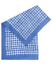 BOSS Black   Pocket Square Blue Check Linen Scarf   Lyst
