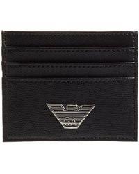 Emporio Armani - Metal Eagle Black Leather Credit Card Holder - Lyst