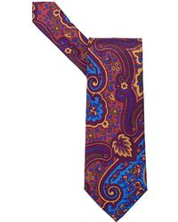 Etro - Large Paisley Multi Purple Tie - Lyst
