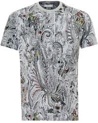 Etro - Tattoo & Cards Print T-shirt, Regular Fit Gray Tee - Lyst