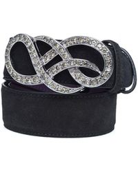Elliot Rhodes - Crystal Gold Swirl Black Suede Belt - Lyst