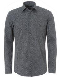 BOSS - Jenno Micro Floral Pattern Slim Fit Navy Shirt - Lyst