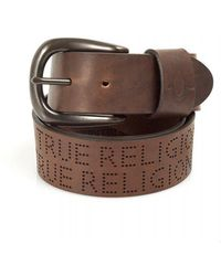 True Religion - Brown Perforated Text Belt - Lyst