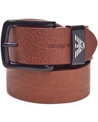 Emporio Armani - Keeper Large Eagle Logo Cognac Brown Leather Belt - Lyst