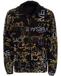 Versace Jeans Black & Gold Baroque Print Reversible Jacket