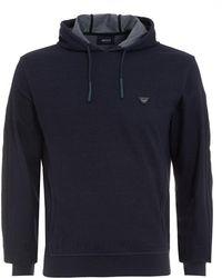 Armani Jeans - Hoodie, Navy Denim Effect Hooded Sweatshirt - Lyst