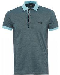 BOSS - Paule 4 Polo, Slim Fit Sky Blue Polo Shirt - Lyst