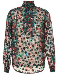 Essentiel Antwerp - Ofra High Neck Floral Leaf Red Multi Shirt - Lyst