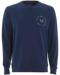 True Religion - Large Horseshoe Logo Navy Blue Sweatshirt - Lyst