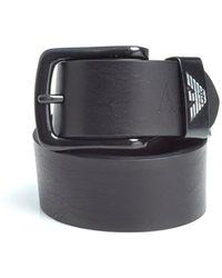 Armani Jeans - Black Brown Eagle Logo Leather Belt - Lyst