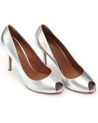 Emporio Armani - Peep Toe Heels, Metallic Silver Court Shoes - Lyst