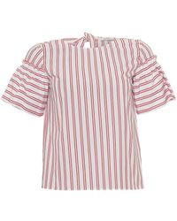 I Blues - Finnici Blouse, Contrast Stripe Pattern White/red Top - Lyst