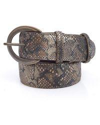 Elliot Rhodes - Brown Metallic Reptile Effect Leather Belt - Lyst