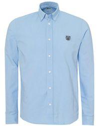 KENZO - Tiger Crest Button Down Slim Fit Sky Blue Shirt - Lyst