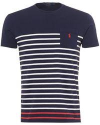 Ralph Lauren - Contrast Solid Stripe T-shirt, Navy Blue Tee - Lyst