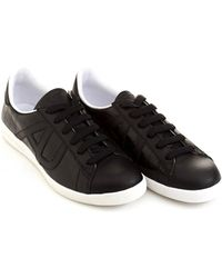 Armani Jeans - Side Aj Logo Black Leather Trainers - Lyst
