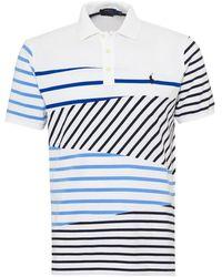 Ralph Lauren - Striped Panel Polo Shirt, White Polo - Lyst