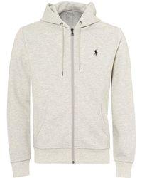 Ralph Lauren - Plain Logo Hoodie, Zip Up Light Grey Hooded Sweatshirt - Lyst