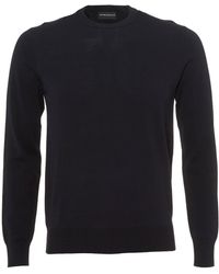 Emporio Armani - Contrast Subtle Piping Knit, Regular Fit Navy Blue Jumper - Lyst