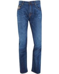 Etro - Jeans, Paisley Pocket Navy Blue Slim Fit Denim - Lyst