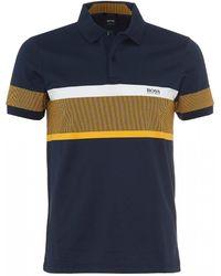 BOSS Paulie 5 Polo Shirt, Striped Night Watch Polo - Blue