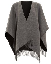 Fraas | Reverse Bicoloured Woollen Black Grey Poncho | Lyst