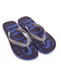 74fb08aaa3 BOSS - Blue Wave Thong, Logo Flip Flops - Lyst