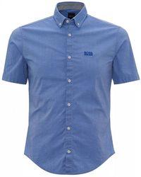 BOSS Biadia Blue Regular Fit Logo Shirt