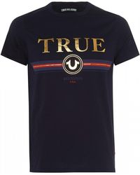 True Religion - Gold Letter T-shirt, Slim Fit Navy Blue Tee - Lyst