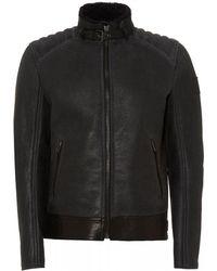 Belstaff - Westlake Shearling Zinc Leather Jacket - Lyst