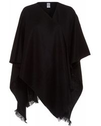 Fraas | Black Wool Poncho One Size Cover Up | Lyst