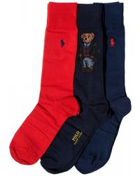 Ralph Lauren - Polo Bear Navy Blue Red Cotton Socks - Lyst