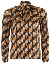 I Blues - Gela Shirt, Geometric Bow Camel Blouse - Lyst