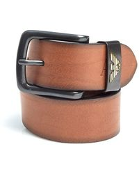 Emporio Armani - Cognac Brown Eagle Logo Leather Belt - Lyst