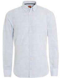 BOSS Epreppy Slim Fit Irregular Stripe White Shirt