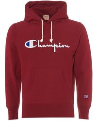 Champion - Script Reverse Weave Hoodie, Burgundy Red Hooded Sweat - Lyst