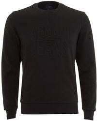 Armani - Sweatshirt, Black Logo Crew Neck Jumper - Lyst