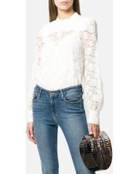 See By Chloé - Long Sleeve Pleated Embroidered Lace Top In Eden White - Lyst