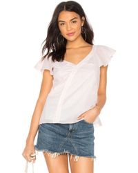 1.STATE - Button Ruffle Blouse - Lyst