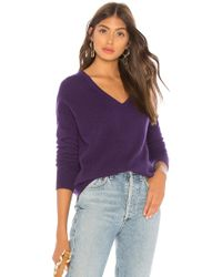 White + Warren - Essential V Sweater In Purple - Lyst