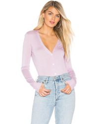 Theory - Foundation V Neck Cardigan In Lavender - Lyst