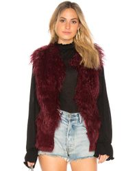 Doma Leather - Faux Fur Vest In Wine - Lyst