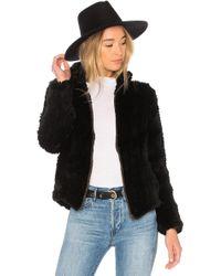 Adrienne Landau - Knit Rabbit Zip Jacket In Black - Lyst