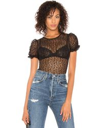 BCBGeneration - Lace Puff Sleeve Bodysuit In Black - Lyst