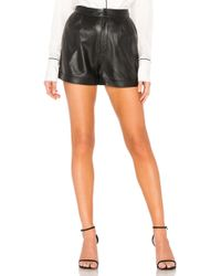 FRAME - Pleated Culotte Short In Black - Lyst