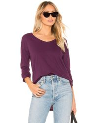 Bobi - V Neck Long Sleeve Tee In Purple - Lyst