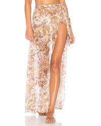 For Love & Lemons - Havana Chiffon Skirt In Cream - Lyst